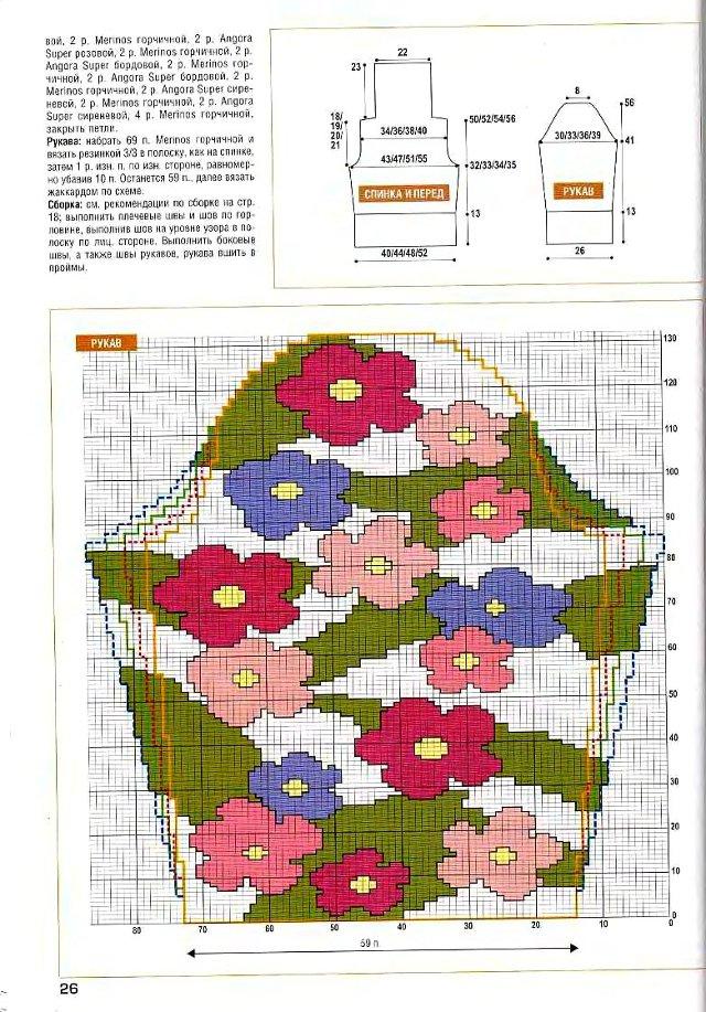 Свитера с орнаментом цветов схемы