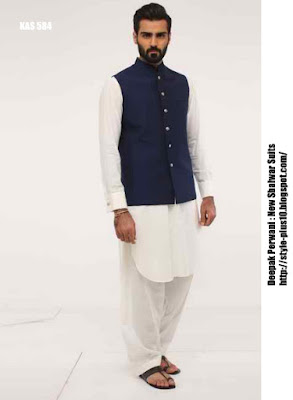 kas-584-white-cotton-shalwar-suit-with-navy-blue-waist-coat-by-deepak-perwani
