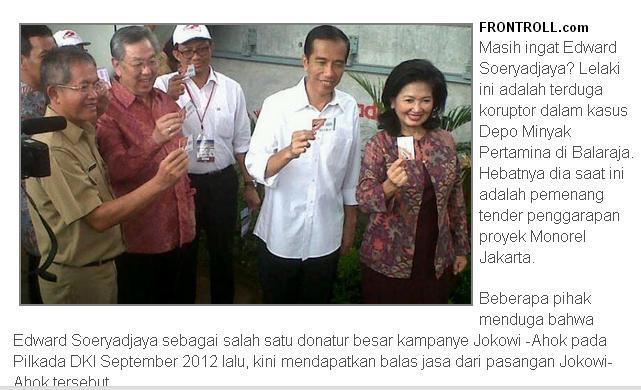 Edward Soerjadjaja bersama Jokowi promosi Kartu Jakarta