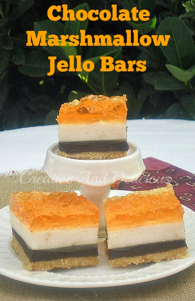 Chocolate Marshmallow Jello Bars ~ 4 Layers of pure delight ! #SweetTreats #Desserts #Bars