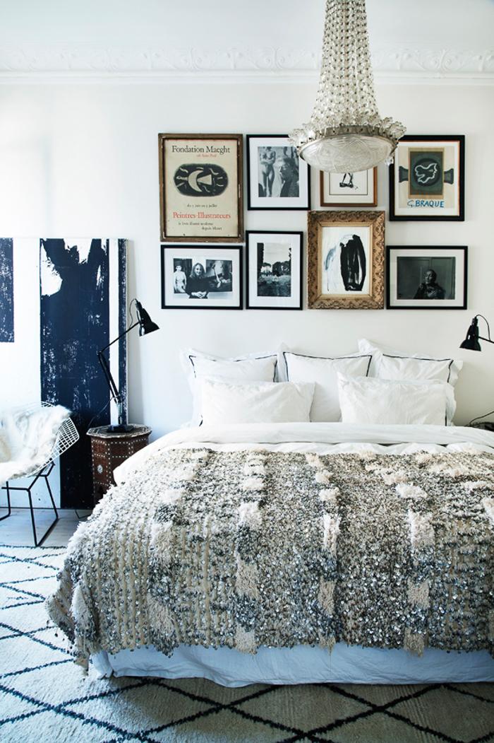 Diseño de interiores alfombra habitación cama Marruecos