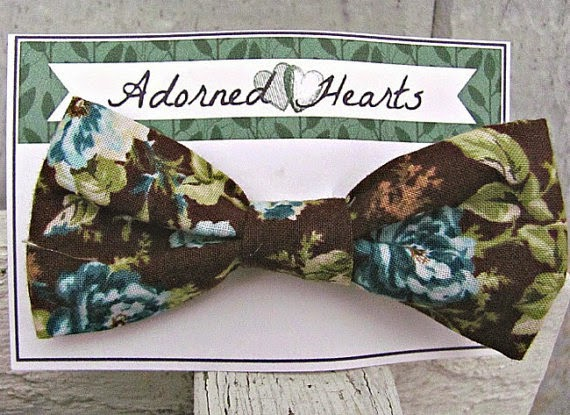 turquoise brown cotton floral hair bow by Adorned Hearts