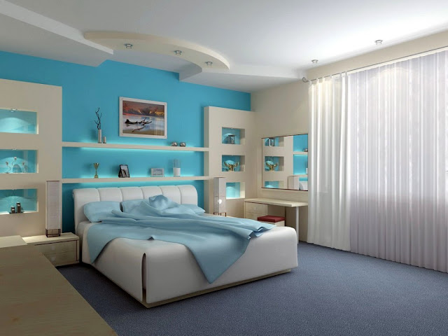 amazing blue and white colors for wall minimalist bedrooms with simple furniture and white bed