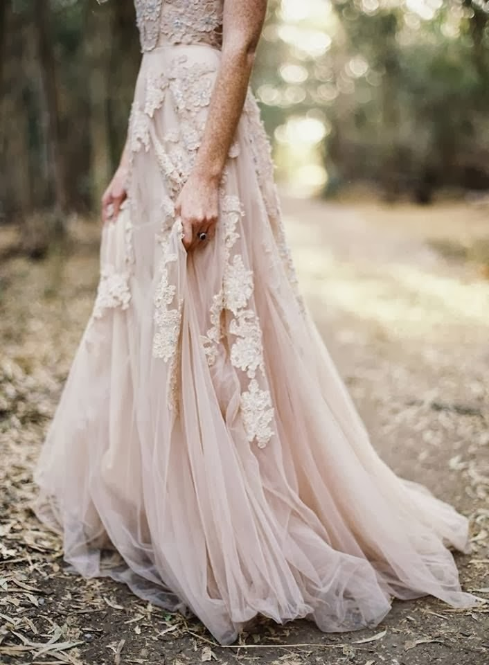Gorgeous Blush Wedding Dress with Lace
