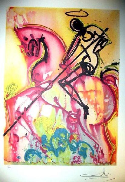 Salvador Dali, Saint George and dragon, grafika