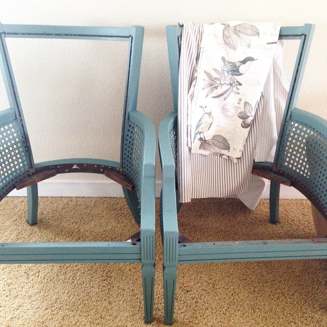 Chair Upholstering 101 - the unprofessional guide to giving a chair a makeover - caned chairs, mattress ticking, bird fabric + Caribbean blue green paint by be junk chic