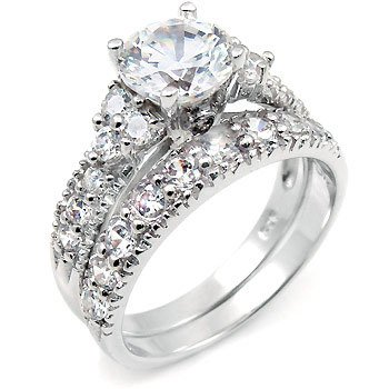 Silver Wedding Ring Beautiful Bridal Cubic Zirconia Engagement Rings