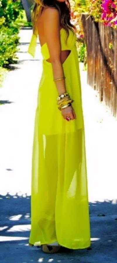 Bright yellow neon maxi dress for ladies