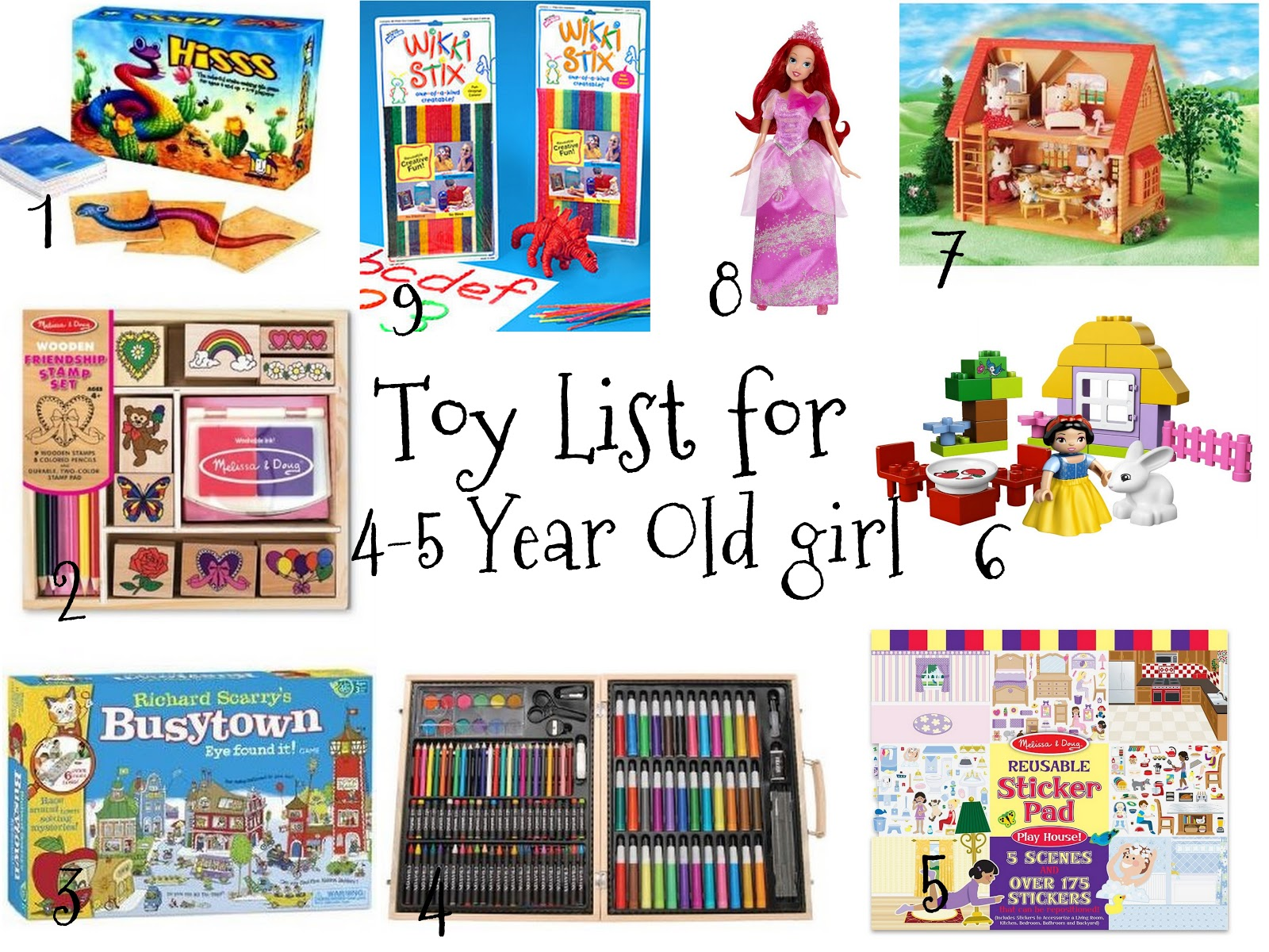 Christmas Toy List for 4-5 Year Old Girls Favorites and Things: