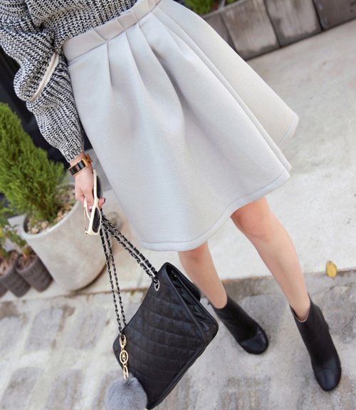 Pleated Front Midi Skirt