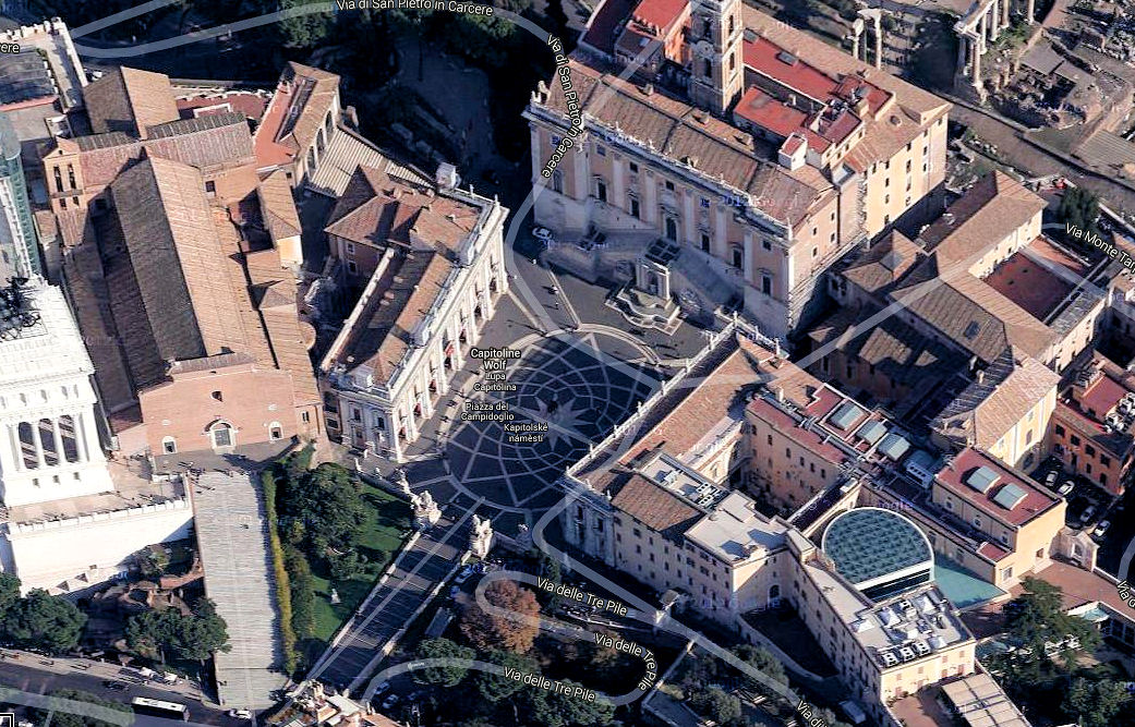 Aerial view of Capitoline Hill in Rome. Photo: Google Earth.
