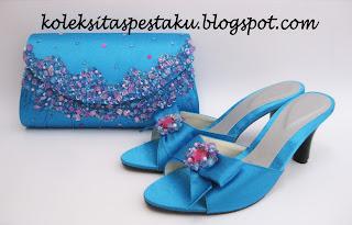 Paket Matching Biru Tosca payet Pink Cantik Elegant Tas Pesta