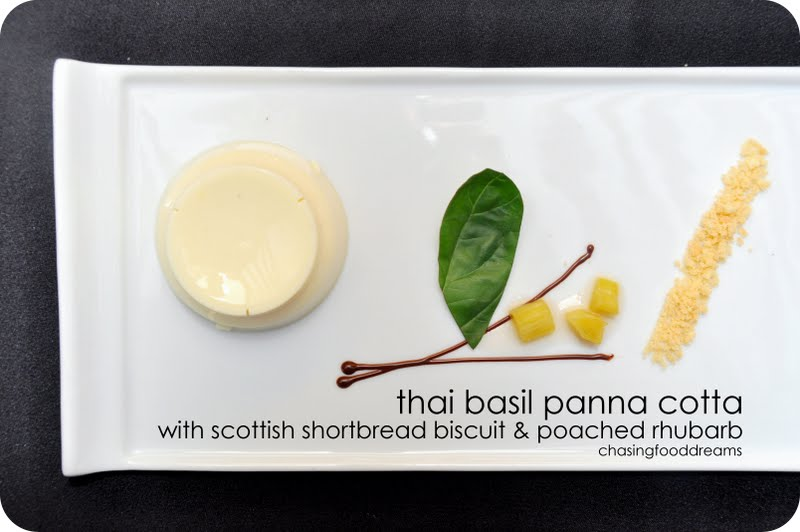 ... Basil Panna Cotta with Scottish Shortbread Biscuit and Poached Rhubarb