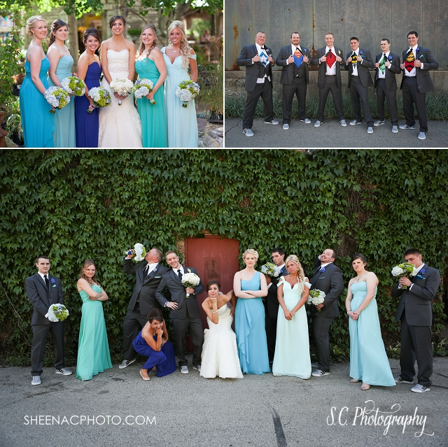 blumen gardens wedding photography superhero groomsmen mismatched bridesmaids blue dresses