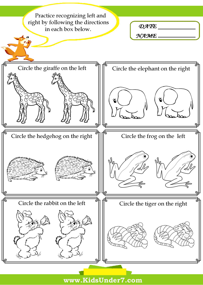 Kids Under 7: Left and Right Worksheets