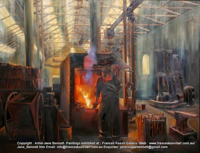 oil painting of blacksmith, Eveleigh Railway Workshops by industrial heritage artist Jane Bennett