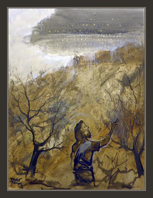 MOISES-SINAI-YAHVEH-KABOD-ANUNNAKI-ELOHIM-DIOS-BIBLIA-CONTACTOS-NAVE ESPACIAL-PINTURA-PINTOR-ERNEST DESCALS-
