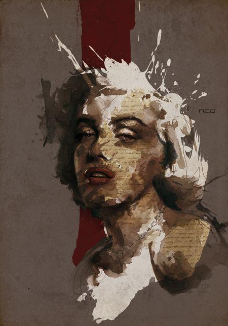 Florian Nicolle ilustrações a mão corridas rostos manchados