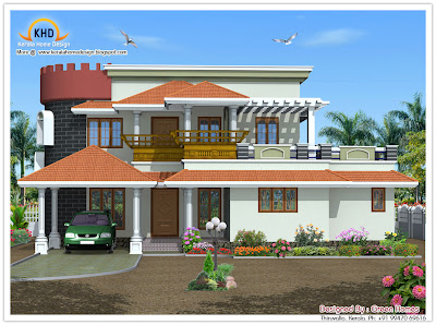 222 Square meter (2390 SqFt.) Kerala Style House Architecture - October 2011