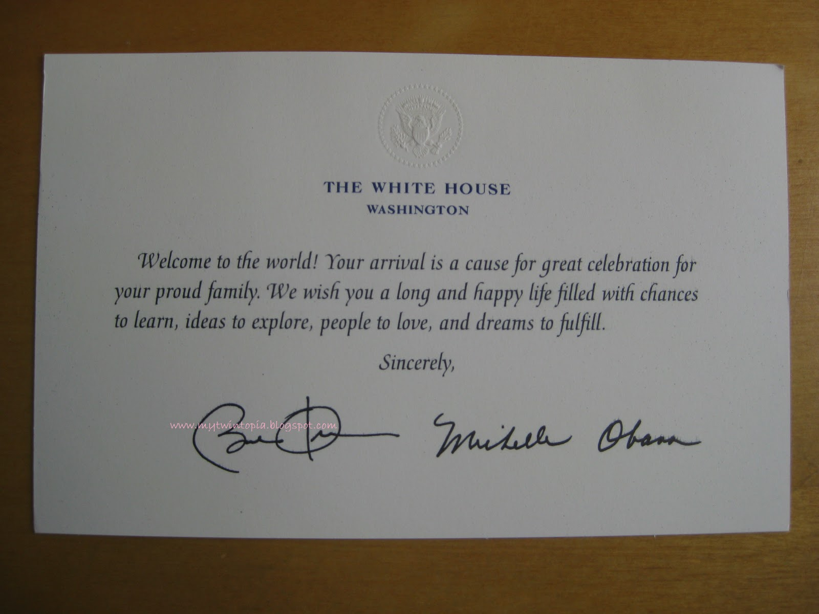 Mytwintopia Baby Birth Greetings From The White House