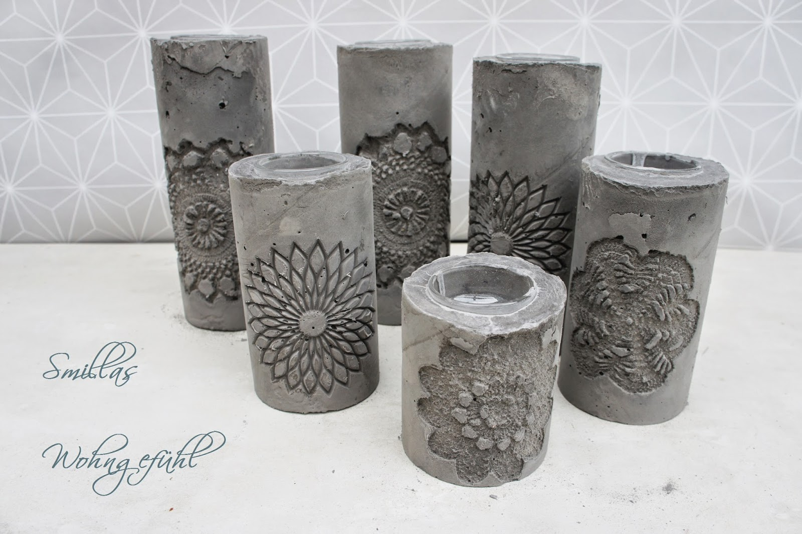 smillas wohngef hl diy concrete candle holder kerzenst nder aus zement. Black Bedroom Furniture Sets. Home Design Ideas