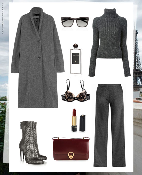 Grey outfit, Parisienne style, Paris-inspired outfit idea, street style | Christophe Lemaire, vintage Hermes, Vionnet, Haider Ackermann, YSL, Serge Lutens