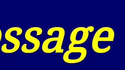 """Descrição da imagem: sobre o fundo azul royal se lê, em letras grandes e minúsculas, """"ssage"""" em amarelo. Fim da descrição"""