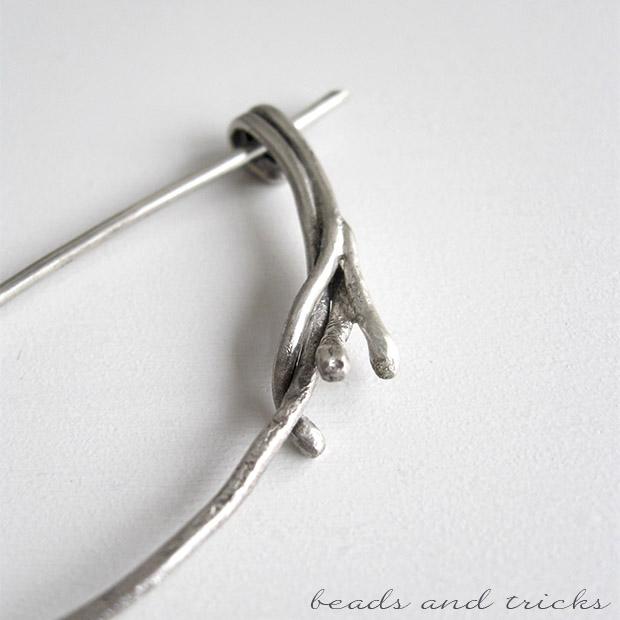 Spilla da scialle in argento forgiata a mano