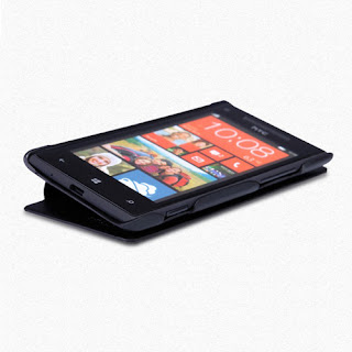 Nillkin Thin Leather Cover Case for HTC Windows Phone 8X + LCD Film - Black