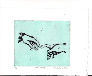 The Touch-waterless lithograph by Kimberly Ruth Edwards available in her etsy shop Prints By Kim