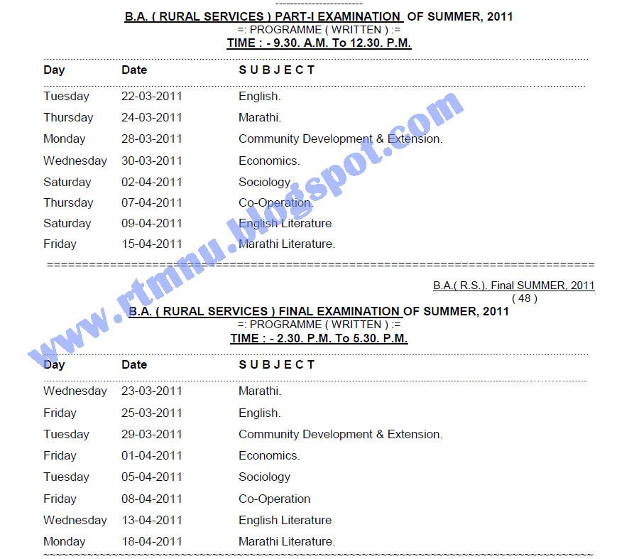 Rashtrasant tukadoji maharaj nagpur university ba for Rtmnu time table 4th sem