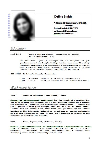 Cv Or Resume Example Of A Cv Resume