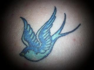 Blue Swallow Bird Tattoo Design