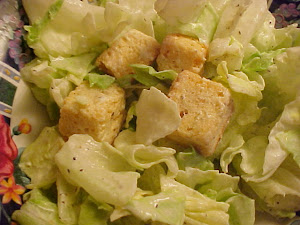 Salade verte avec vinaigrette crmeuse  la moutarde