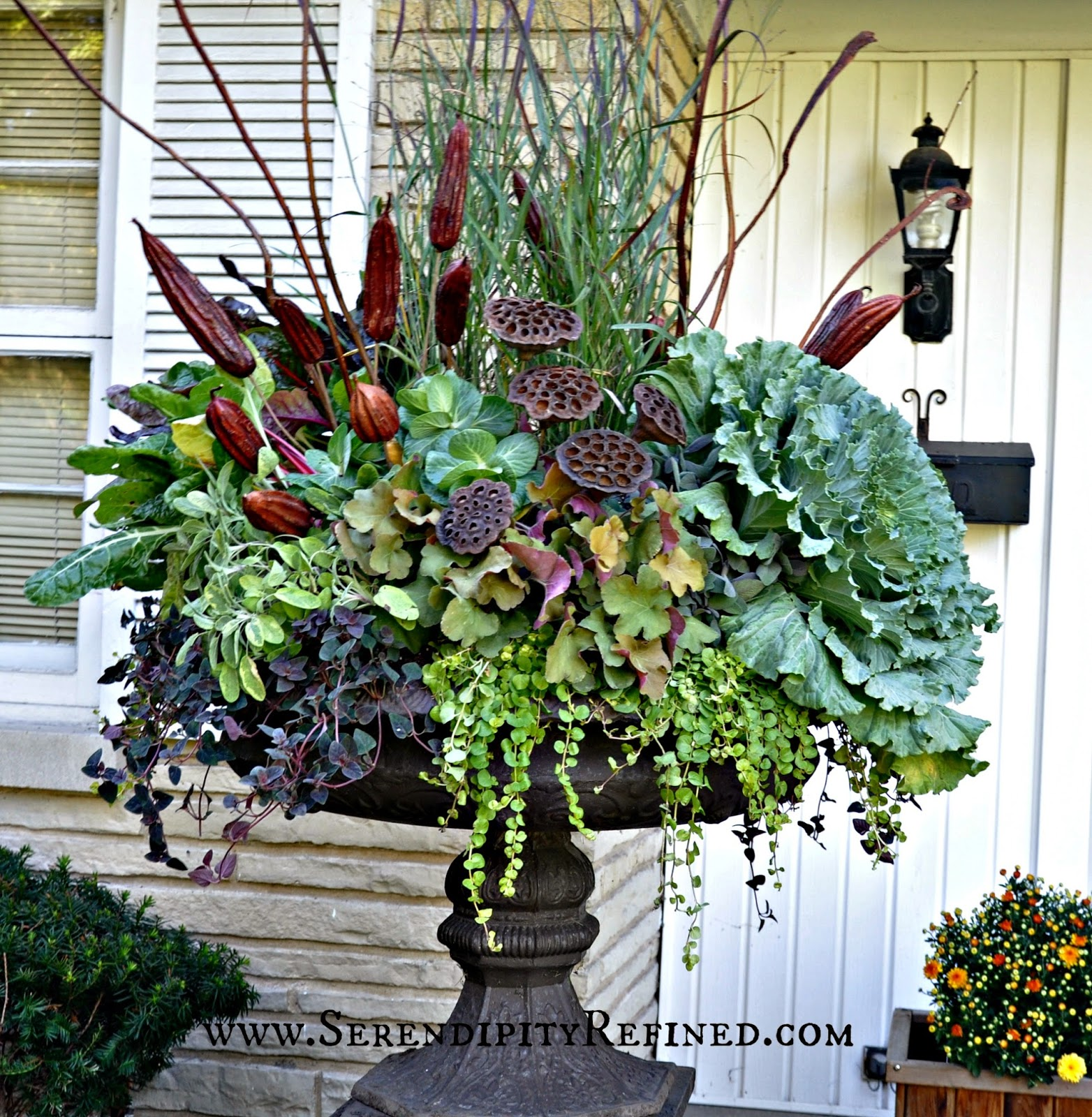 fall front porch and fabulous urn planter - Decorating Front Porch Urns For Christmas