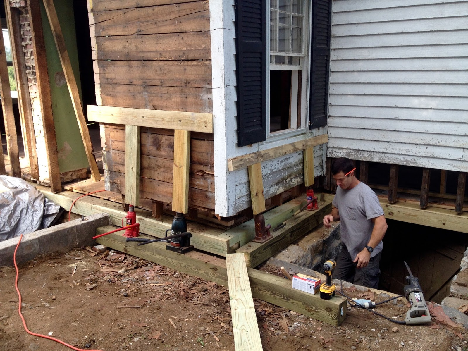 Hydraulic Jack Lifting Foundation For House : Shoreline farmhouse renovation october