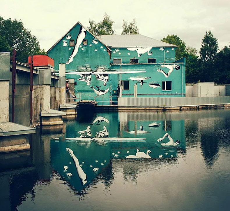 Este arte urbano fue pintado al revés y es visible correctamente en su reflexión