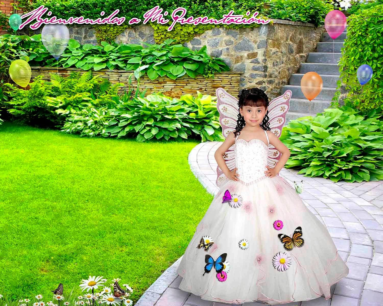 Niña en jardincito con globos, mariposas y flores