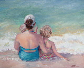 Mother and Children at the Beach Oil Painting on Canvas