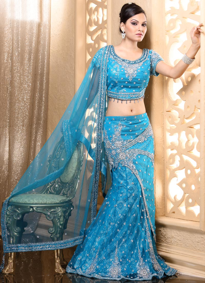 Bridal multicolor lehenga style saree bridal lehenga for Indian wedding dresses online india