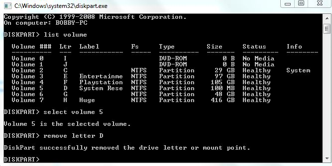 how to remove all partitions on drive