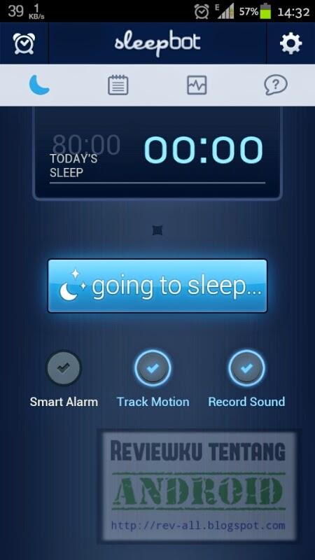 Tampilan utama aplikasi android SleepBot - asisten kesehatan tidur anda (rev-all.blogspot.com)