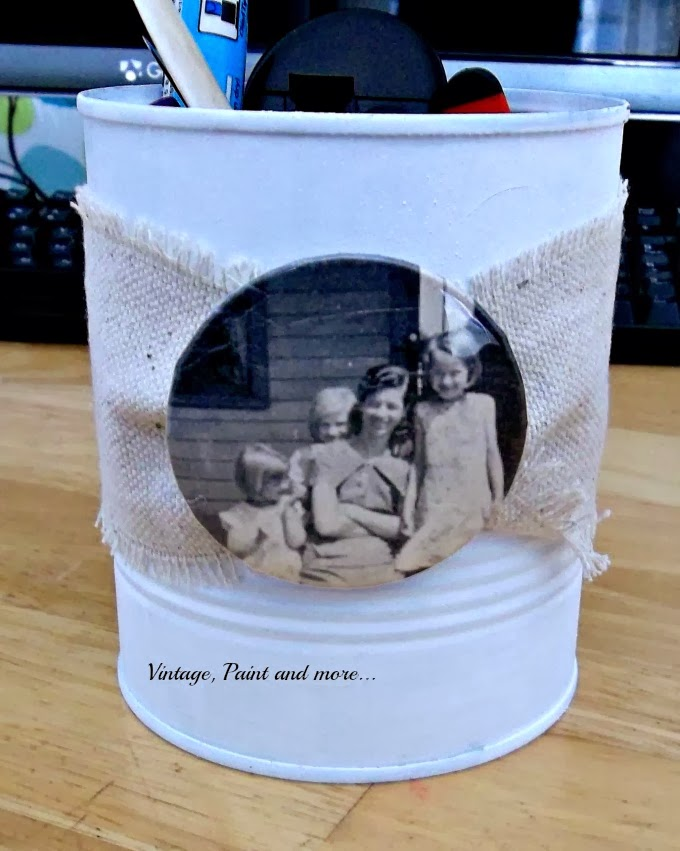Tin Can Therapy - painted and decorated tin can with vintage picture