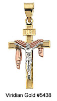 Shroud Crucifix Pendant in Tri-color Gold