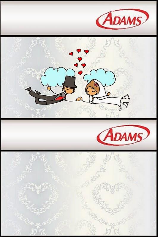 Etiquetas para chicles Adams de Pareja de Novios Volando  para imprimir gratis