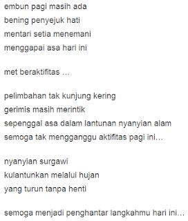 puisi selamat pagi