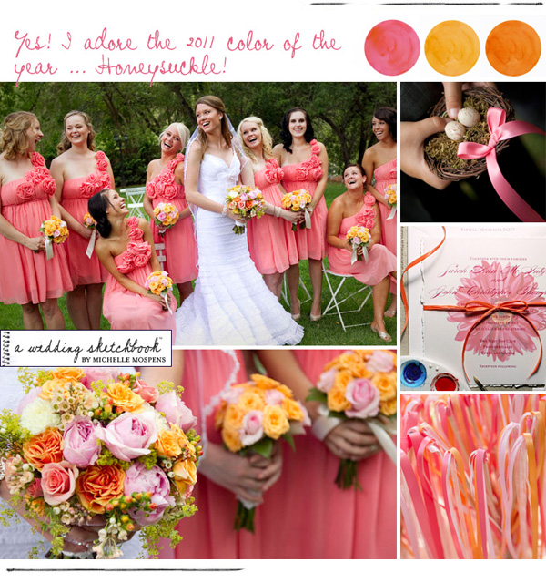 I Took At As A Sign And Finalized Our Wedding Colors Yes Not Just Boring Pink Orange But Honeysuckle Coral Rose With BEESWAX An Accent Color