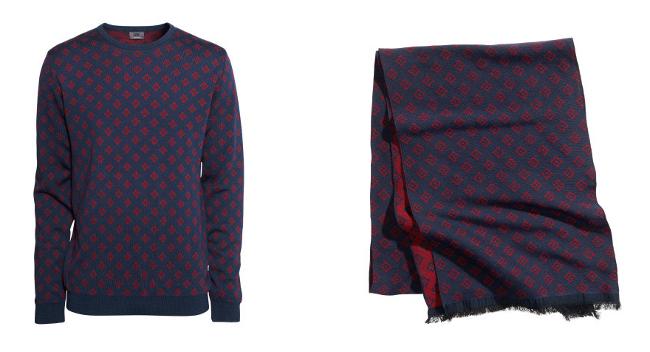 jersey y fular azul marino con estampado jacquard burdeos