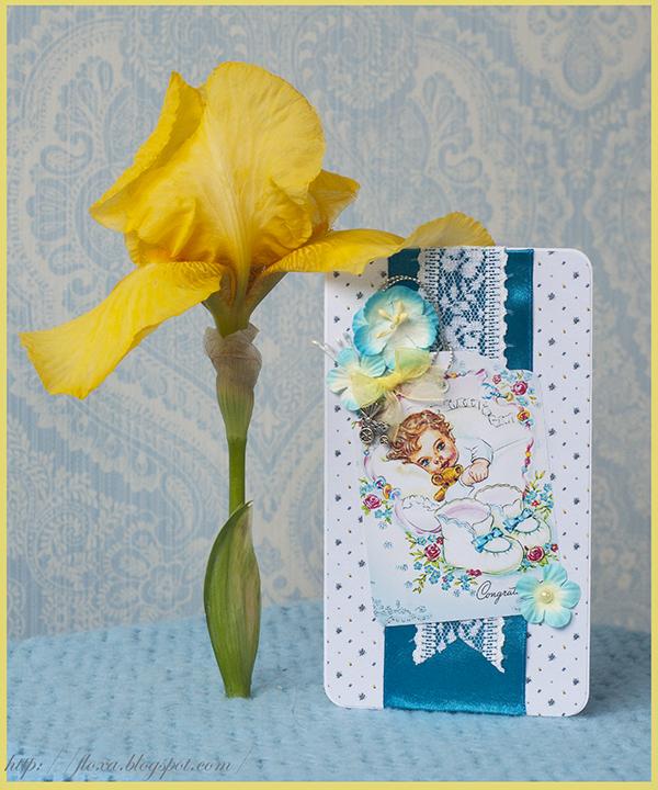 скрап открытка, открытка для малыша, подарок новорожденному, открытка с ребенком