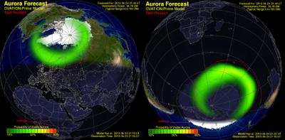 OVATION primer modelo Aurora pronóstico (Crédito: NOAA / SWPC), 24 de mayo 2013